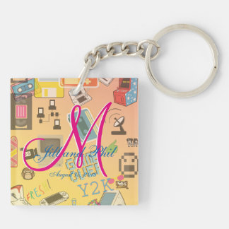 Computer Game Theme Wedding Double-Sided Square Acrylic Keychain