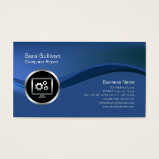 Computer Gears Icon Computer Repair Business Card