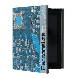 Computer Geek Blue Circuit Board Personalized Name iPad Folio Case