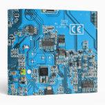 Computer Geek Circuit Board - blue 3 Ring Binders