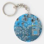 Computer Geek Circuit Board - blue Basic Round Button Keychain