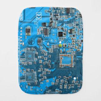 Computer Geek Circuit Board - blue Burp Cloth