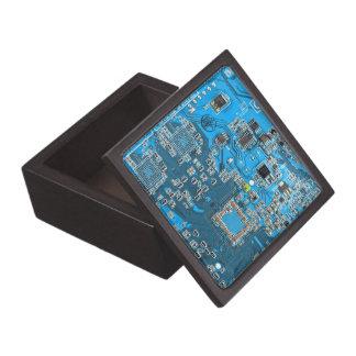Computer Geek Circuit Board - blue Jewelry Box