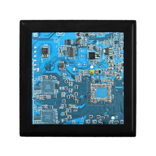 Computer Geek Circuit Board - blue Keepsake Box