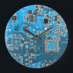 """Computer Geek Circuit Board - blue Large Clock<br><div class=""""desc"""">This one&#39;s for the Geeks in all of us.  Computer Geek Circuit Board - blue</div>"""