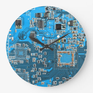 Computer Geek Circuit Board - blue Large Clock