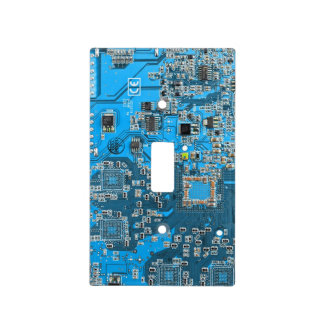 Computer Geek Circuit Board - blue Switch Plate Cover