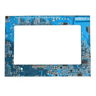 Computer Geek Circuit Board - blue Magnetic Photo Frame