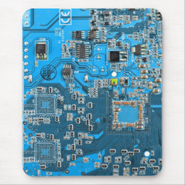 Computer Geek Circuit Board - blue Mouse Pad