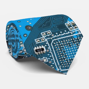 electronic ties zazzlecomputer geek circuit board blue neck tie