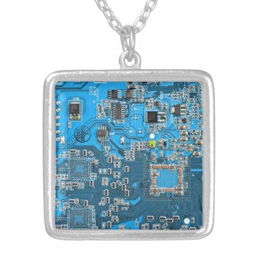 Computer Geek Circuit Board - blue Square Pendant Necklace