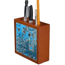 Computer Geek Circuit Board - blue Pencil/Pen Holder