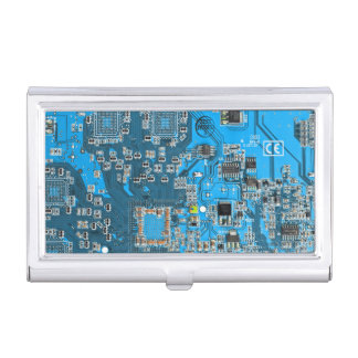 Computer Geek Circuit Board - blue Case For Business Cards