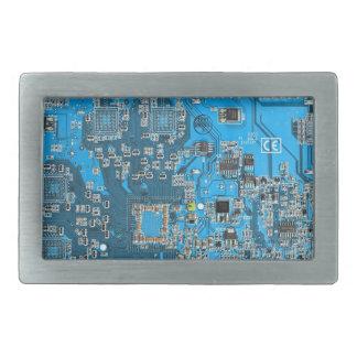 Computer Geek Circuit Board - blue Rectangular Belt Buckle
