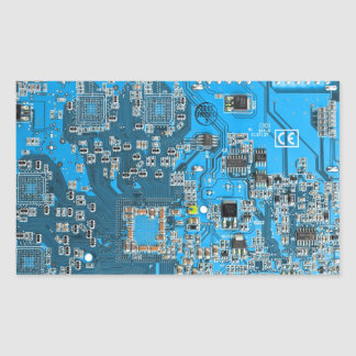 Computer Geek Circuit Board - blue Rectangular Sticker