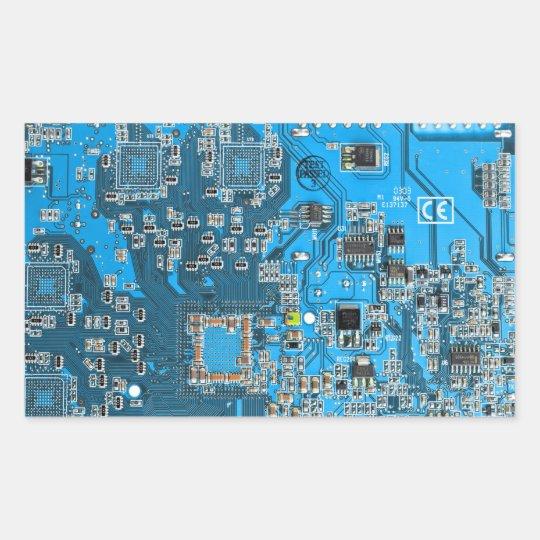 Computer Geek Circuit Board - blue Rectangular Sticker