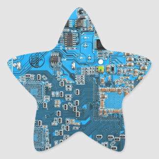 Computer Geek Circuit Board - blue Star Stickers
