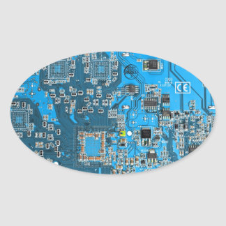Computer Geek Circuit Board - blue Stickers