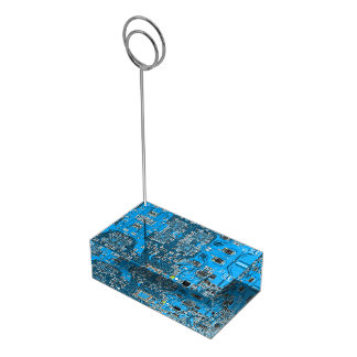 Computer Geek Circuit Board - blue Table Card Holder