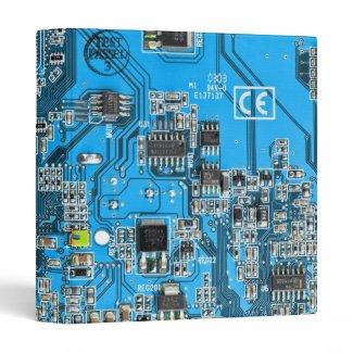 Computer Geek Circuit Board - blue Vinyl Binders