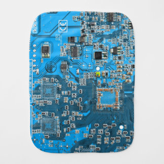 Computer Geek Circuit Board - blue Burp Cloths