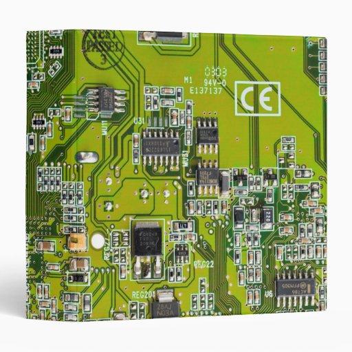 Computer Geek Circuit Board - gold 3 Ring Binders