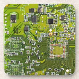 Computer Geek Circuit Board - gold Coaster