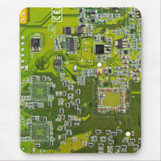 Computer Geek Circuit Board - gold Mouse Pad