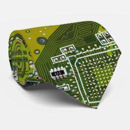 Computer Geek Circuit Board - gold Neck Tie