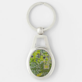 Computer Geek Circuit Board - gold Silver-Colored Oval Metal Keychain