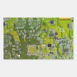 Computer Geek Circuit Board - gold Rectangular Stickers