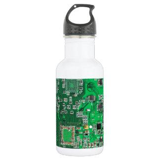 Computer Geek Circuit Board - green 18oz Water Bottle