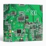 Computer Geek Circuit Board - green 3 Ring Binder