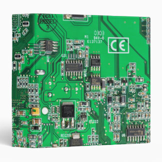 Computer Geek Circuit Board - green 3 Ring Binder