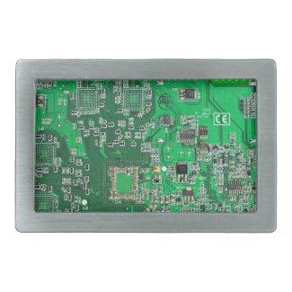 Computer Geek Circuit Board - green Rectangular Belt Buckles