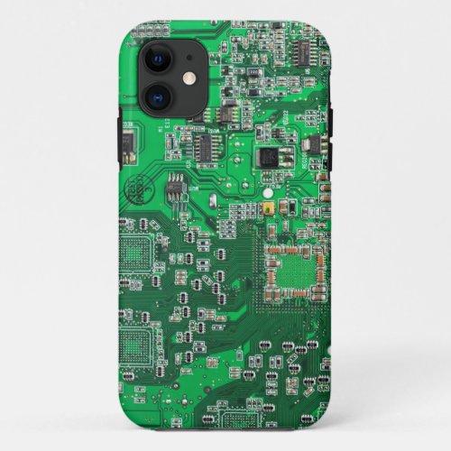 Computer Geek Circuit Board - green Phone Case