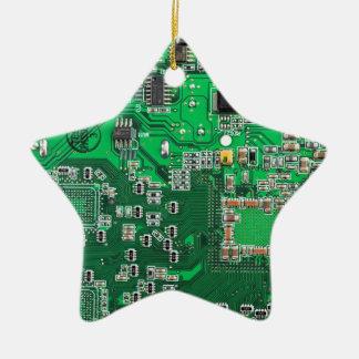 Computer Geek Circuit Board - green Ceramic Ornament