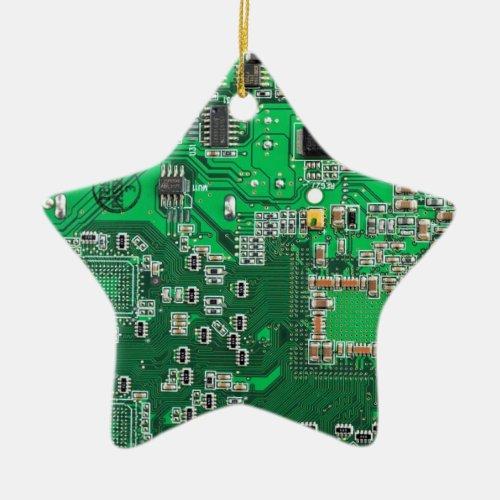 Computer Geek Circuit Board _ green Ceramic Ornament