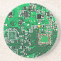 Computer Geek Circuit Board - green Drink Coaster