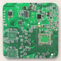 Computer Geek Circuit Board - green Drink Coaster