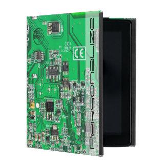 Computer Geek Circuit Board - green iPad Cover