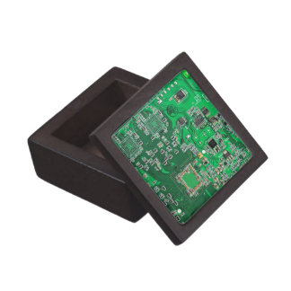Computer Geek Circuit Board - green Keepsake Box
