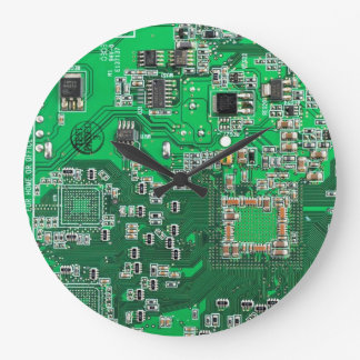 Computer Geek Circuit Board - green Large Clock