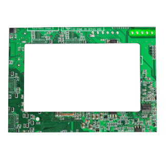 Computer Geek Circuit Board - green Magnetic Picture Frame