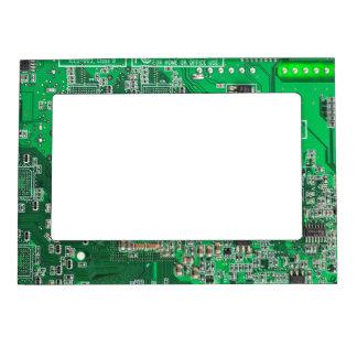 Computer Geek Circuit Board - green Magnetic Photo Frames