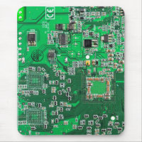 Computer Geek Circuit Board - green Mousepads
