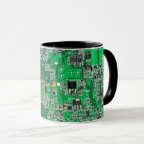 Computer Geek Circuit Board - Green Mug
