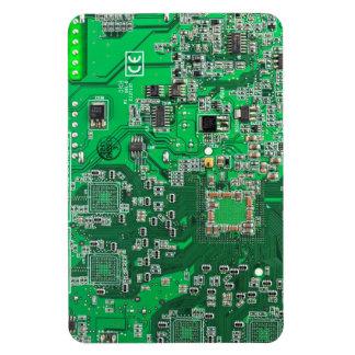 Computer Geek Circuit Board - green Rectangular Magnet