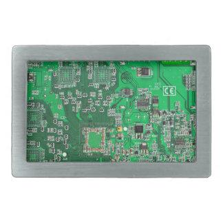 Computer Geek Circuit Board - green Rectangular Belt Buckle