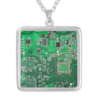 Computer Geek Circuit Board - green Silver Plated Necklace
